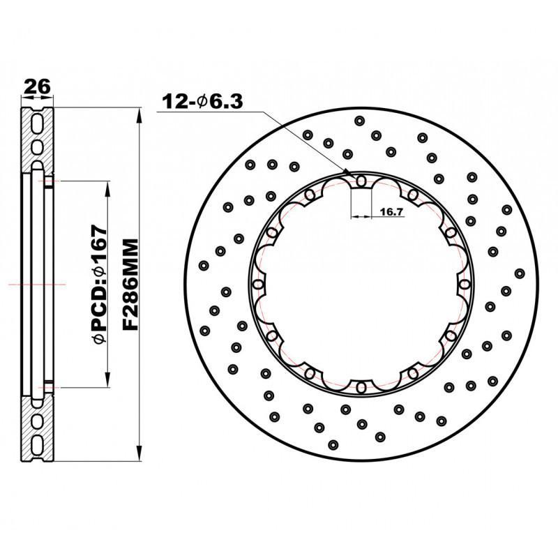 Передние перфорированные Роторы 286х26 мм /пара/
