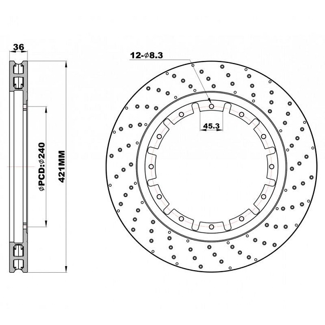 Передние перфорированные Роторы 421х36 мм /пара/