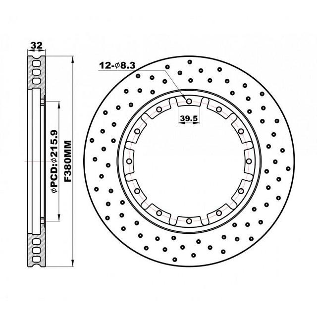 Передние перфорированные Роторы плавающие 380х32 мм /пара/