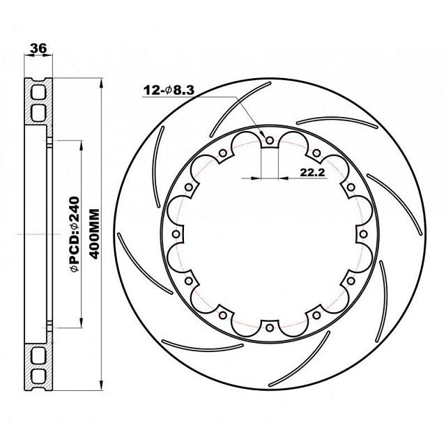 Передние слотированные Роторы 400х36 мм /пара/