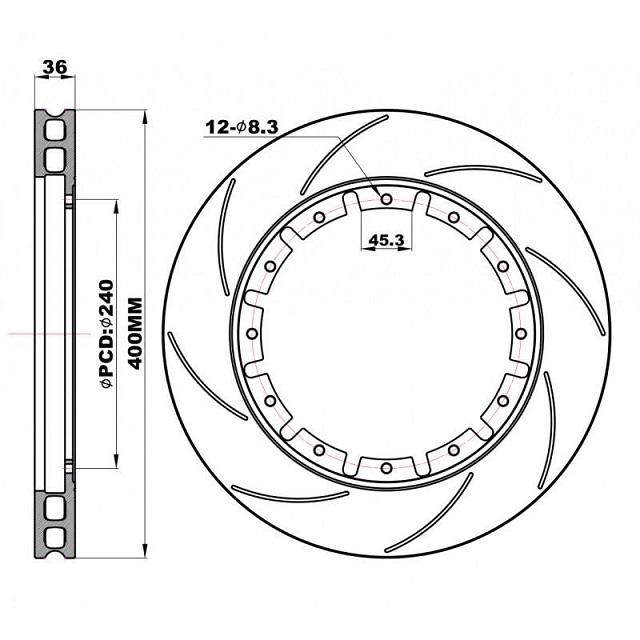 Передние слотированные Роторы плавающие 400х36 мм