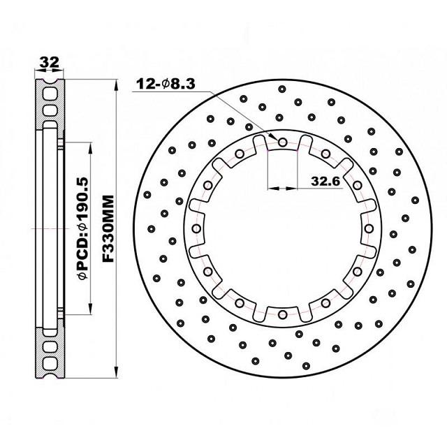Задние перфорированные Роторы плавающие 330х32 мм /пара/
