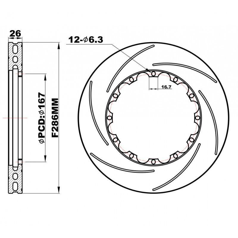 Задние слотированные Роторы 286х26 мм /пара/