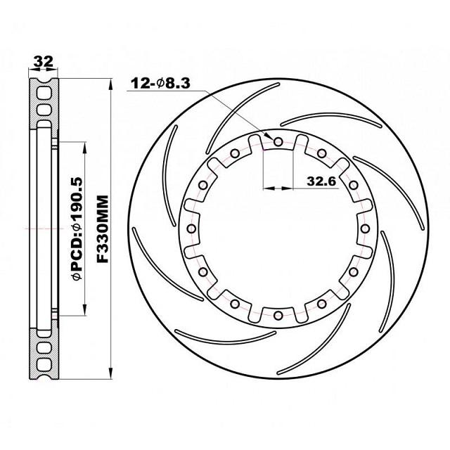 Задние слотированные Роторы плавающие 330х32 мм /пара/